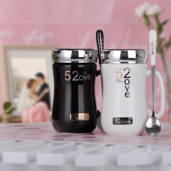 禮盒裝創意陶瓷馬克杯簡約帶蓋勺可愛清新卡通文藝牛奶咖啡杯白喝水杯子 快速出貨