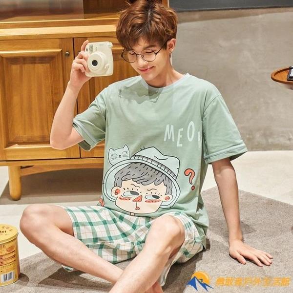 睡衣男士夏季純棉短袖青少年學生卡通可愛薄款【勇敢者】