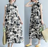 洋裝夏季新款文藝大尺碼女裝水墨波點中長款棉麻無袖連衣裙印花背心長裙