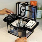 大容量便攜化妝品化妝箱手提多層專業透明帶鎖美甲美睫紋繡工具箱 晴光小語