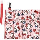〔小禮堂〕Hello Kitty 攜帶式折疊野餐坐墊《紅.格紋側坐》27x31cm.野餐墊.海灘墊 4992272-66232