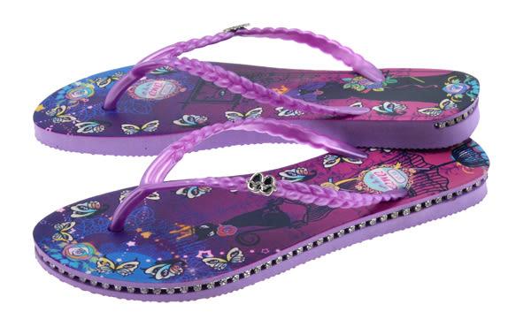 QWQ創意鞋-  Cat Princess 施華洛世奇水鑽夾腳人字拖鞋- 紫 (范特西系列 )