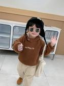 童裝寶寶衛衣男連帽冬裝男童羊羔毛套頭衫兒童字母上衣促銷好物