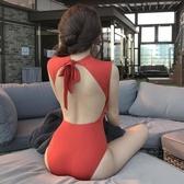 連身泳衣 韓版新款ins風性感高領連體露背泳裝遮肚顯瘦溫泉保守游女 - 古梵希