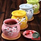 單個家用帶蓋陶瓷調味罐調味盒日式辣椒油罐家用【福喜行】
