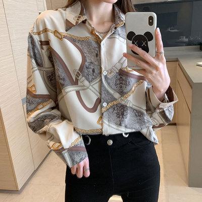 印花長袖襯衫 上衣秋季新款韓版時尚洋氣襯衫顯瘦拼色長袖百搭外穿 3648 N502 韓依紡