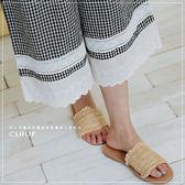 褲子  森林漫步布蕾絲格紋棉麻寬褲  單色-小C館日系