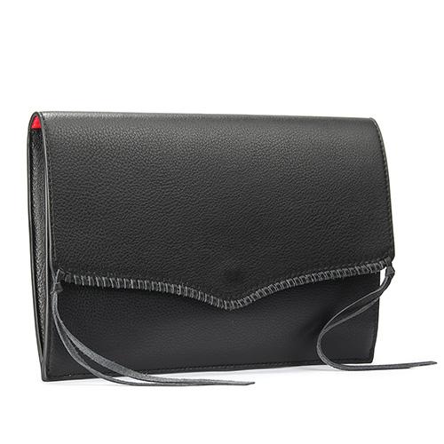 Rebecca Minkoff PANAMA編織皮革裝飾信封手拿包(黑色)220120