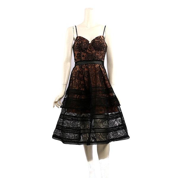 【self-portrait】罩杯式細肩帶蕾絲長洋裝 (黑色) SP12036/black