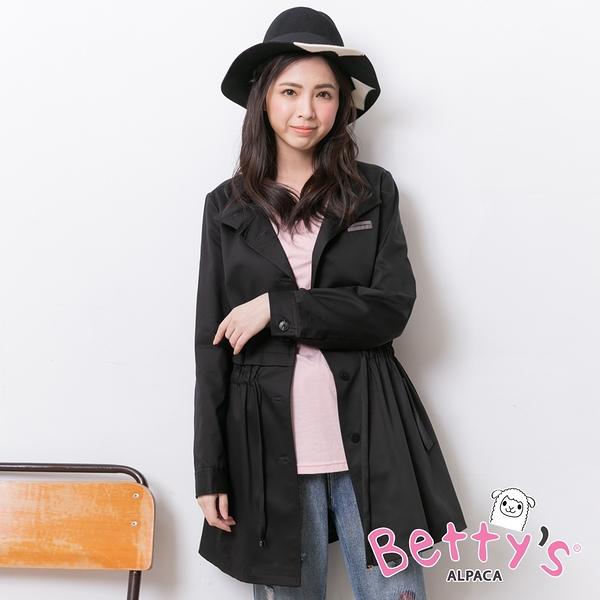 betty's貝蒂思 立領腰間抽繩排釦大衣(黑色)