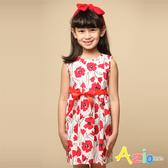 Azio 女童 洋裝 滿版大紅花綁帶無袖洋裝(紅) Azio Kids 美國派 童裝