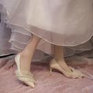 時尚高跟涼鞋女2021年新款仙女風淺口尖頭細跟新娘婚紗鞋伴娘婚鞋 快速出貨