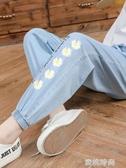 女童防蚊褲童裝女孩九分牛仔褲薄款中大童夏季束腳小雛菊兒童褲子『蜜桃時尚』