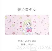 滑鼠墊美少女心可愛卡通動漫女生粉色pu皮質電腦超大碼防水滑鼠墊 BASIC HOME