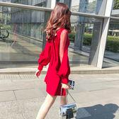 新款女裝蝴蝶結透視性感網紗拼接燈籠袖連身裙