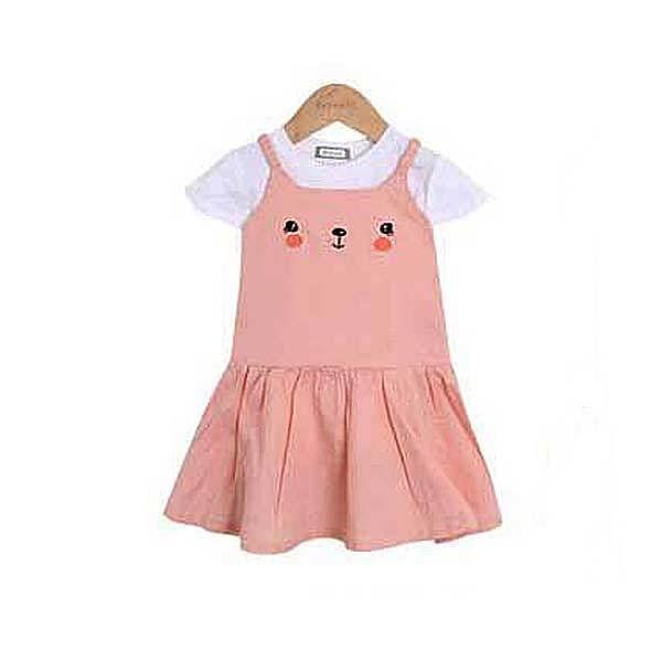 短袖套裝 韓國 Bebezoo 白底素色短袖上衣+害羞貓咪洋裝 套裝2件組 - 粉色 BE18-M-SET207