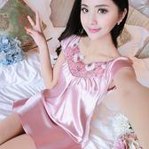 性感冰絲綢睡衣女夏天睡裙短袖大碼可愛家居服吊帶薄款韓版可外穿 衣櫥の秘密