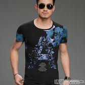 上衣 中國風山水畫水墨印花T恤男裝個性夏季休閒短袖圓領半截袖 瑪麗蘇
