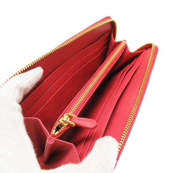 PRADA 普拉達 胭脂粉色防刮牛皮ㄇ字長夾 Zippe Arround Wallet 1M0506 【BRAND OFF】