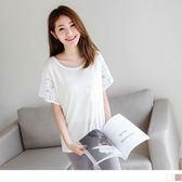 OB嚴選《AB3354-》素色鏤空蕾絲緹花傘袖針織短袖上衣.2色--適 S~XL