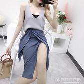 套裝小香風心機女港味針織背心一片式開衩包臀裙兩件套女神范時髦 快意購物網