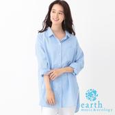 ❖ Hot item ❖ 素面/條紋側開衩長版口袋襯衫 - earth music&ecology