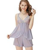 思薇爾-啵時尚花心思系列蕾絲性感衣褲二件式小夜衣(紫藤灰)