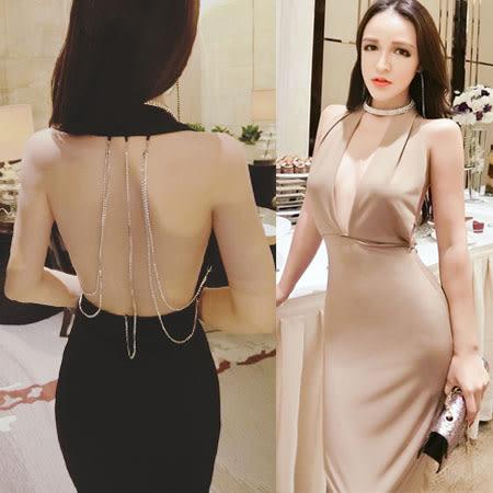 亮鑽美背項鍊緞面性感洋裝    ♥ onetwo♥