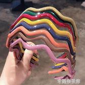 發帶 韓版時尚簡約彩色亞克力波浪發箍少女洗臉化妝束發帶壓發頭箍發飾 米蘭潮鞋館