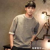 七分袖T恤 男士短袖新款夏季七分袖五分中袖t恤男韓版寬鬆學生個性潮流 全網最低價最後兩天