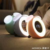 鬧鐘 夜燈可愛兒童小鬧鐘創意學生靜音臥室床頭多功能電子智慧簡約夜光 美斯特精品