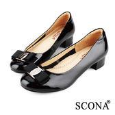 SCONA 全真皮 經典蝴蝶結低跟鞋 黑漆色 22338-1