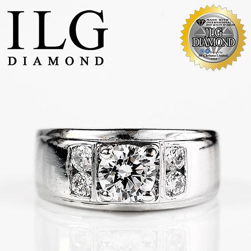 【ILG鑽】頂級八心八箭鑽石戒指-非凡氣度款 主鑽75分 寬版戒指中性款男戒婚戒 RI044