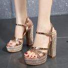高跟凉鞋 歐美新款水鉆粗跟涼鞋 超高跟水...