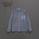 Queen Shop【01023362】深淺配色格紋口帶造型襯衫 1/2/3/4*現+預*