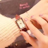 女手錶新款ins長方形手錶女款女士防水時尚款文藝復古皮帶石英女錶【快速出貨限時八折】