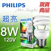 【有燈氏】PHILIPS 飛利浦Tornado E27 8W 超亮迷你電子式省電燈泡110