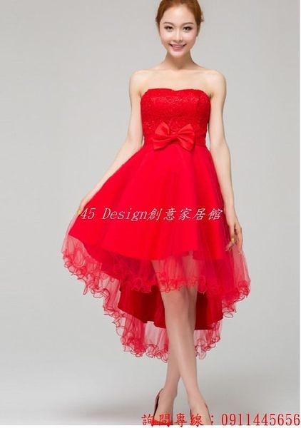 (45 Design) 訂做款式7天到貨韓版婚紗小禮服時尚新娘禮服晚裝長短款伴娘禮服結婚敬酒服