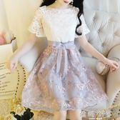 洋裝夏裝新款女裝a字裙子韓版收腰小清新修身顯瘦蕾絲洋裝女夏  嬌糖小屋