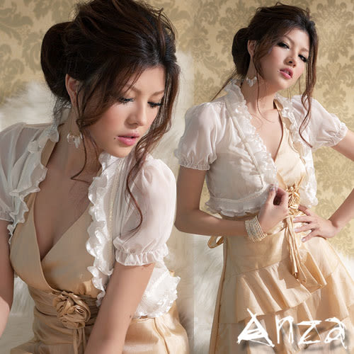 【AnZa】雪紡薄紗波浪花邊罩衫式小外套(三色)