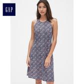 Gap女裝 休閒印花無袖洋裝 489873-藍底印花