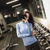春運動上衣女長袖顯瘦瑜伽服緊身衣跑步速干T恤訓練健身服-大小姐韓風館
