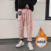 2019新款冬季褲子女休閒褲ins工裝褲女秋冬直筒褲寬鬆加絨運動褲