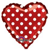 18吋愛心鋁箔氣球(不含氣)-紅底白點點