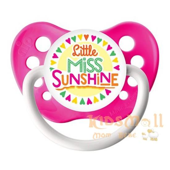 美國 ulubulu ,個性化造型安撫奶嘴,德國製Little Miss Sunshine-Neon Pink