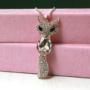 飾品時尚氣質超閃滿鑽狐狸水晶毛衣鏈