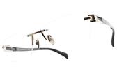JAPONISM光學眼鏡 JP031 C03 (淡金-槍黑) 科技無邊框紳士款 平光鏡框 # 金橘眼鏡