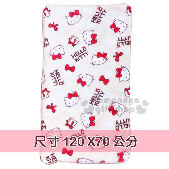 〔小禮堂〕Hello Kitty 法蘭絨披肩毯《米棕.大臉.紅蝴蝶結.禮物.白愛心》毛毯70x120cm 4713077-26155