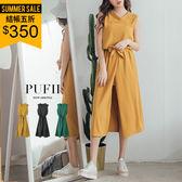 (現貨-黑)PUFII-洋裝 露單肩開衩綁腰雪紡長洋裝連身裙(附腰帶) 3色-0322 現+預 春【CP14278】