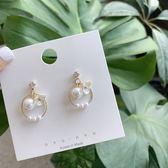【NiNi Me】耳環 氣質甜美水鑽珍珠花朵耳環 夾式耳環 E0231